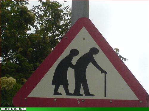 Funny Signs - Elderly Stickman