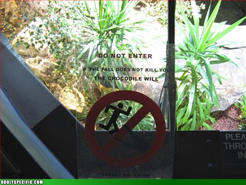 Funny Signs - Stickman Vs. Crocodiles- Who You Got??