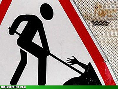 Funny Signs - Stickman Burying Dead