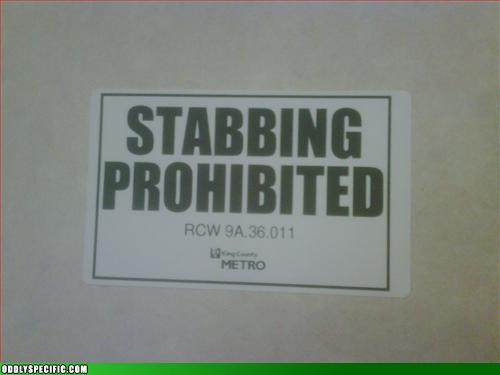 Stabbing Prohibited